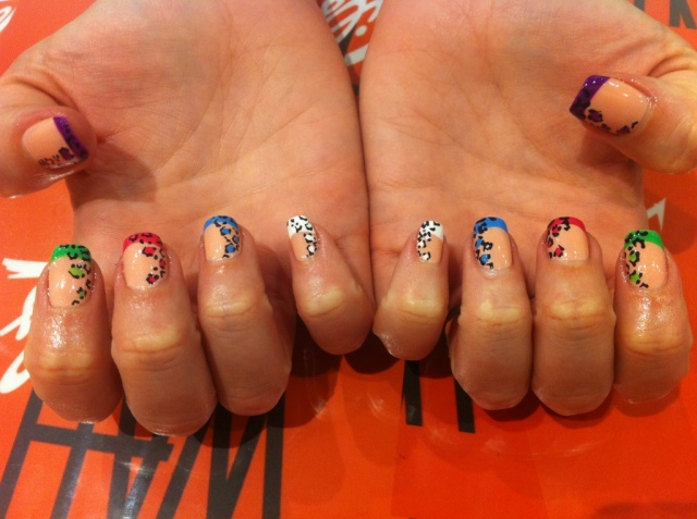 Pretty colourful leopard nail design from WAH Nails.
